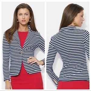Lauren Ralph Lauren Stripe Cotton Knit Blazer